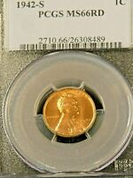 1942 S LINCOLN WHEAT CENT PCGS MINT STATE 66RD BRIGHT RED SUPERB LUSTER PQ G499