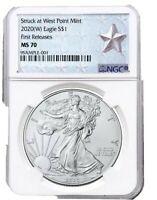 2020  W  SILVER EAGLE STRUCK AT WEST POINT NGC MS70 FR WEST