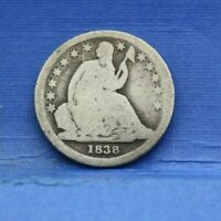 1838 SEATED LIBERTY DIME SILVER ALMOST GOOD AG