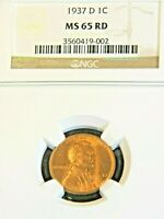 1937-D LINCOLN CENT NGC MINT STATE 65RD BRIGHT RED SUPERB LUSTER, PQ G527