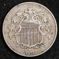 1872 SHIELD NICKEL EXTRA FINE  DETAIL SHIPS FREE E208 F