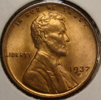 1937-D LINCOLN CENT, GEM RED UNCIRCULATED, TOUGHER LIKE THIS   0102-09