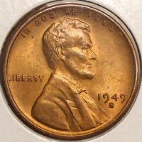 1949-S LINCOLN CENT, CHOICE TO GEM UNCIRCULATED, INTERESTING COLOR    0727-30