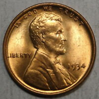 1934 LINCOLN CENT, CHOICE TO GEM UNCIRCULATED, BRIGHT RED BU   0422-10