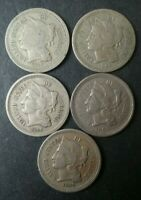 LOT OF FIVE 3C NICKEL THREE CENT PIECES