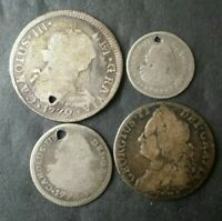 LOT OF FOUR SPANISH COLONIAL SILVER REALES COINS