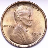 1934 LINCOLN WHEAT CENT PENNY CHOICE BU  COLOR SHIPS FREE E831 AN
