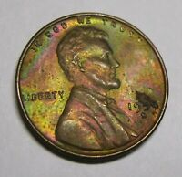 SET OF 6 COLOR-TONED LINCOLN WHEAT CENTS: 1950 PDS, 1952D, 1955D, 1957D