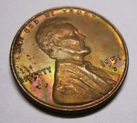 6 COLOR-TONED LINCOLN WHEAT CENTS: 1950 PDS, 1951 PD, 1952 D