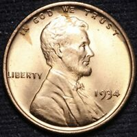 1934 LINCOLN WHEAT CENT PENNY CHOICE BU RED SHIPS FREE E849 ACN
