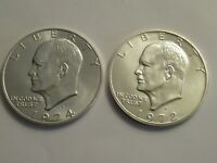 TWO EISENHOWER UNC SILVER DOLLAR, COIN ONLY,  1974 S & 1972 S