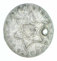 1857 SILVER THREE CENT PIECE   TRIME   HOLED COIN COLLECTION
