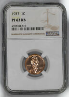 1937 LINCOLN WHEAT CENT PENNY 1C NGC CERTIFIED PF 63 RB PROOF UNC RED BROWN 015