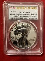 2019 W ENHANCED REVERSE PROOF SILVER EAGLE PCGS PR70 FDOI PR