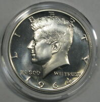 PROOF 1964 KENNEDY HALF DOLLAR CAMEO 90  SILVER IN CAPSULE F