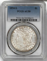 1894 S MORGAN SILVER DOLLAR $1 PCGS CERTIFIED AU 50 ABOUT UNCIRCULATED 613