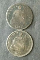 1857 AND 1872 5C SEATED LIBERTY SILVER HALF DIMES
