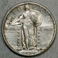 1920-D STANDING LIBERTY QUARTER, ALMOST UNCIRCULATED,   COIN  0602-06