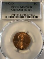 1992 D LINCOLN CENT PENNY CLOSE AM VARIETY FS 901 CERTIFIED
