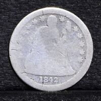1842 SEATED LIBERTY DIME - AG DETAILS 30469