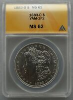 1883 O ANACS MINT STATE 62 VAM 1F2 CLASHED OBVERSE N, E, & US, REV M - BLAST WHITE COIN