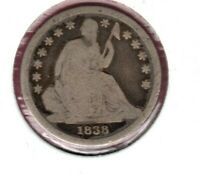 1838 SEATED LIBERTY SILVER DIME LARGE STARS CIRCULATED C3735
