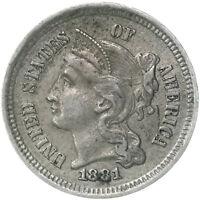 1881 THREE CENT NICKEL ABOUT UNCIRCULATED AU SEE PICS D899