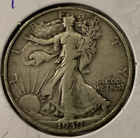 FREE SHIP 1939 WALKING LIBERTY HALF DOLLAR -  WWII ERA PHILADELPHIA SILVER