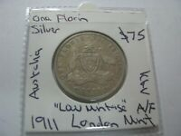 AUSTRALIA 1911 SILVER FLORIN COIN RARE LOW MINTAGE  KGV LOND