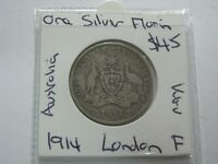AUSTRALIA 1914 SILVER FLORIN COIN RARE LOW MINTAGE  KGV LOND