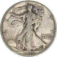 1939 WALKING LIBERTY HALF DOLLAR 90 SILVER FINE FN