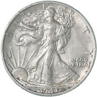 1943 D WALKING LIBERTY HALF DOLLAR 90 SILVER ABOUT UNCIRCULATED AU