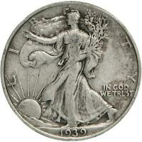 1939 WALKING LIBERTY HALF DOLLAR 90 SILVER  FINE VF
