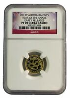 2013 AUSTRALIA 1/10OZ GOLD YEAR OF SNAKE NGC PF70 EARLY RELE