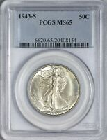 1943 S WALKING LIBERTY HALF DOLLAR PCGS MINT STATE 65 - PEWTER-LIKE SURFACES AND ORIGINAL