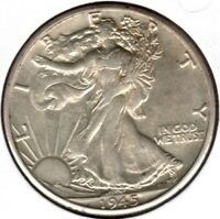 1945-D SILVER WALKING LIBERTY HALF DOLLAR ALMOST UNCIRCULATED   C2114
