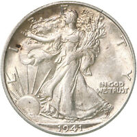1941 S WALKING LIBERTY HALF DOLLAR 90 SILVER AU SLIDER