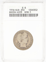 1916-D/D BARBER SILVER QUARTER 25C ANACS G6 G06 RPM REPUNCHED MINTMARK VARIETY