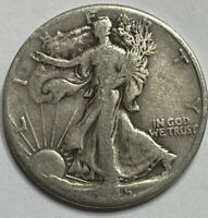 FREE SHIP 1945-D WALKING LIBERTY HALF DOLLAR -  EARLY 1900'S SILVER COIN L7