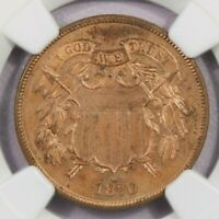 1870-P 1870 TWO CENT PIECE 2C NGC PF64 RB LOTS OF RED