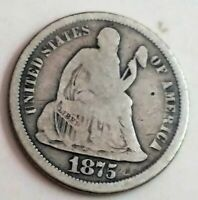 1875-P SEATED LIBERTY DIME: TYPE 4 - LEGEND ON OBVERSE