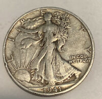 FREE SHIP VF 1941-S WALKING LIBERTY HALF DOLLAR - BETTER WWII ERA SILVER L7