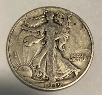 FREE SHIP 1939 WALKING LIBERTY HALF DOLLAR - GREAT DEPRESSION ERA SILVER COIN