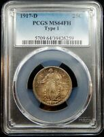 1917 D TYPE 1 STANDING LIBERTY QUARTER - PCGS CERTIFIED MINT STATE 64 FH