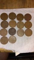 LOT OF 14  WHEAT CENT COINS. 1920'S, 30'S.  MIX AND DETAILSVINTAGE