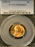 1956-D LINCOLN CENT PCGS MINT STATE 66RD BRIGHT RED SUPERB LUSTER, PQ GORGEOUS COIN G697