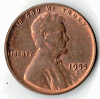 1955 D LINCOLN CENT IN RED/ BROWN UNCIRCULATED CONDITION  STK L1009