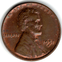1951 D LINCOLN CENT IN RED /  BROWN UNCIRCULATED CONDITION  STK X12