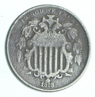 FIRST US NICKEL   1868   SHIELD NICKEL   US TYPE COIN   OVER
