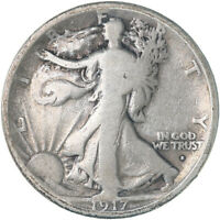 1917 S WALKING LIBERTY HALF DOLLAR OBVERSE MINT MARK VG CLEANED SEE PICS E457